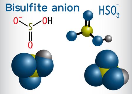 Bisulfite anion (hydrogen sulfite) molecule. Sodium bisulfite (E222) and potassium bisulfite (E228) are food preservatives. Structural formula and molecule model. Vector illustration