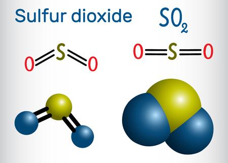 Molécule de dioxyde de soufre (dioxyde de soufre, SO2). Formule développée et modèle de molécule. Illustration vectorielle