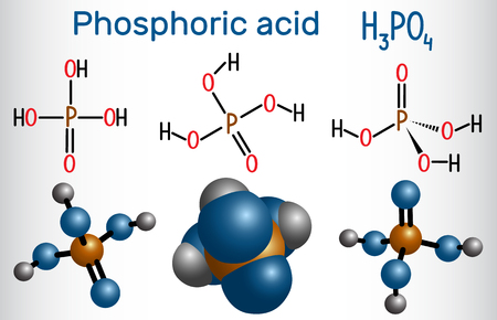 Phosphoric acid (orthophosphoric acid, H2PO4) is a mineral and weak acid molecule. Structural formula and molecule model. Vector illustration