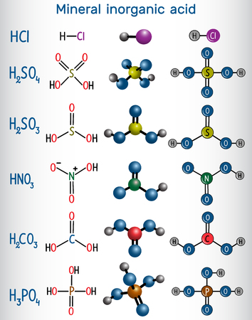 Formula and molecule model mineral inorganic acid. Hydrochloric acid (HCL), Sulfuric acid (H2SO4), Nitric acid (HNO3), Carbonic acid (H2CO3) Sulfurous acid (H2SO3), Phosphoric acid (H2PO4). Vector illustration 向量圖像