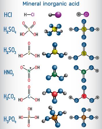 Formula and molecule model mineral inorganic acid. Hydrochloric acid (HCL), Sulfuric acid (H2SO4), Nitric acid (HNO3), Carbonic acid (H2CO3) Sulfurous acid (H2SO3), Phosphoric acid (H2PO4). Vector illustration Illustration