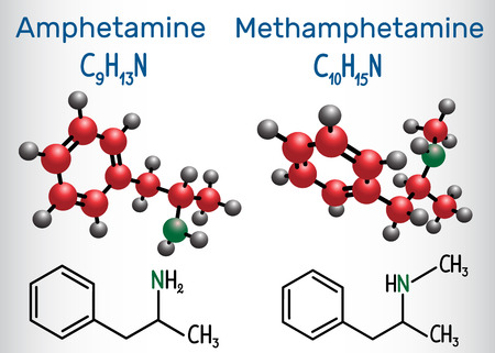 Amfetamine (amphetamine, C9H13N) and Methamphetamine (crystal meth, C10H15N) molecule. Structural chemical formula and molecule model Vector illustration Illustration