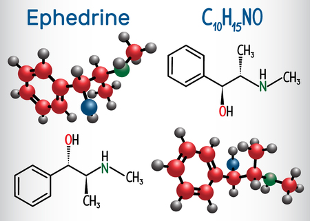 Ephedrine (C10H15NO) molecule, is a medication and stimulant. Structural chemical formula and molecule model Vector illustration Illustration