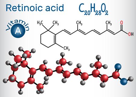 Retinoic acid is a metabolite of vitamin A (retinol) . Structural chemical formula and molecule model. Vector illustration Ilustração Vetorial