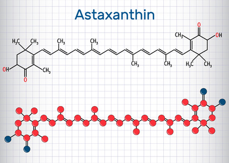 Astaxanthin is a keto-carotenoid. It belongs to class of chemical terpenes. Structural chemical formula and molecule model. Sheet of paper in a cage. Vector illustration Иллюстрация