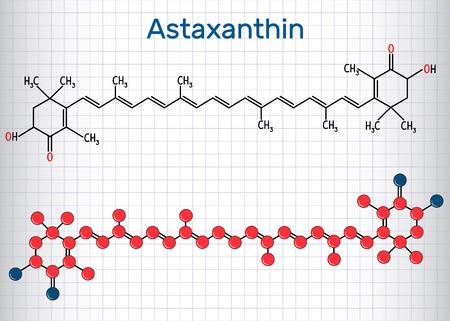 L'astaxanthine est un céto-caroténoïde. Il appartient à la classe des terpènes chimiques. Formule chimique structurelle et modèle de molécule. Feuille de papier dans une cage. Illustration vectorielle Banque d'images - 102216470