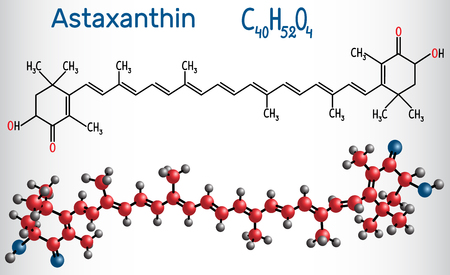 Astaxanthin is a keto-carotenoid. It belongs to class of chemical terpenes Structural chemical formula and molecule model. Vector illustration
