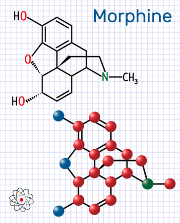 Morphine molecule. It is a pain medication of the opiate. Structural chemical formula and molecule model. Sheet of paper in a cage.Vector illustration Illustration