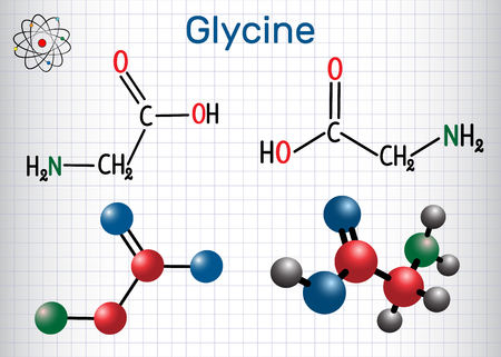Glycine (Gly or G), is the amino acid.  Structural chemical formula and molecule model. Sheet of paper in a cage. Vector illustration Illustration