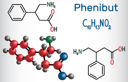 Phenibut is a central nervous system depressant with anxiolytic and sedative effects. Structural chemical formula and molecule model. Vector illustration