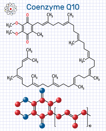 Coenzyme Q10 (ubiquinone, ubidecarenone, coenzyme Q, CoQ10) molecule. It is cofactor  with antioxidant properties. Structural chemical formula and molecule model. Sheet of paper in a cage. Vector illustration