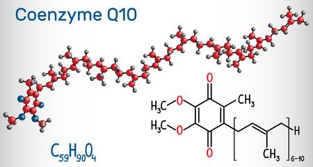 Molécula de coenzima Q10 (ubiquinona, ubidecarenona, coenzima Q, CoQ10). Es cofactor con propiedades antioxidantes. Fórmula química estructural y modelo de molécula. Ilustración vectorial