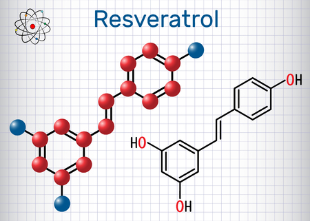 Resveratrol molecule. It is natural phenol, phytoalexin, antioxidant. Structural chemical formula and molecule model. Sheet of paper in a cage. Vector illustration Archivio Fotografico - 102915889