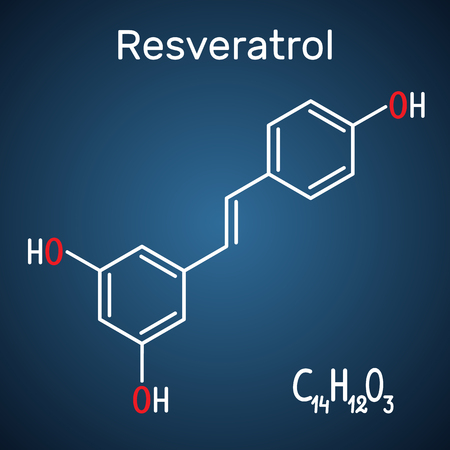 Resveratrol molecule. It is natural phenol, phytoalexin, antioxidant. Structural chemical formula and molecule model on the dark blue background. Vector illustration