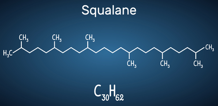 Squalane molecule. It is used in cosmetics as emollient and moisturizer Structural chemical formula and molecule model on the dark blue background. Vector illustration