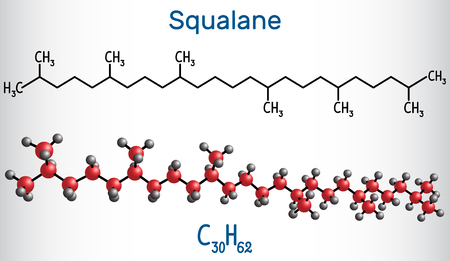 Squalane molecule. It is used in cosmetics as emollient and moisturizer Structural chemical formula and molecule model. Vector illustration