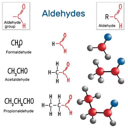Aldehydes. Chemical formula and molecule model formaldehyde, acetaldehyde and propionaldehyde. Vector illustration