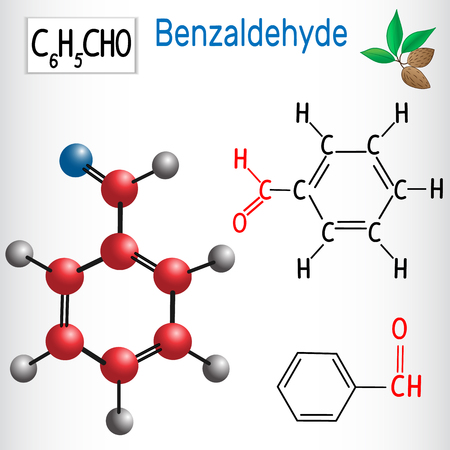 Benzaldehyde. Aldehydes in nature. Vector illustration