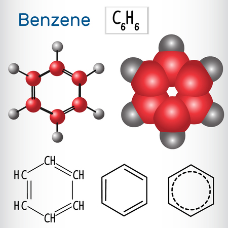 Benzene molecule - structural chemical formula and model. Vector illustration