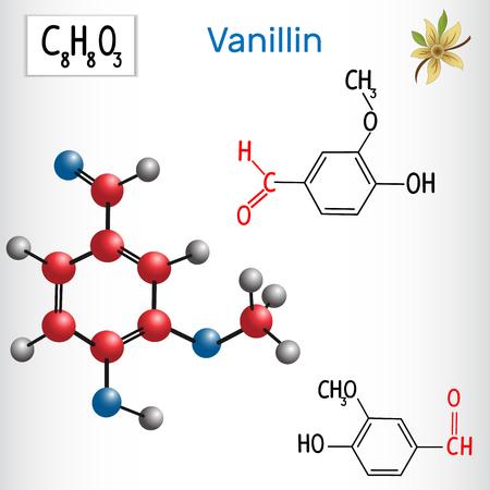 Vanillin . Aldehydes in nature. Vector illustration