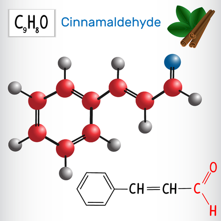 Cinnamaldehyde (cinnamic aldehyde). Aldehydes in nature. Vector illustration