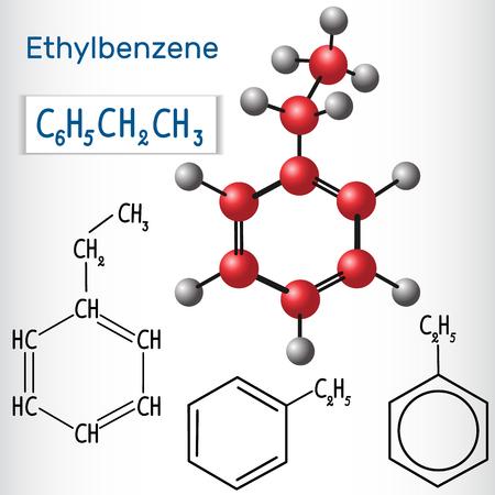Ethylbenzene molecule - structural chemical formula and model. Vector illustration