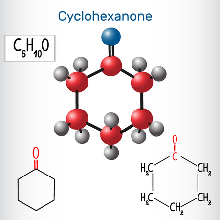 Cyclohexanone molecule - structural chemical formula and model. Vector illustration