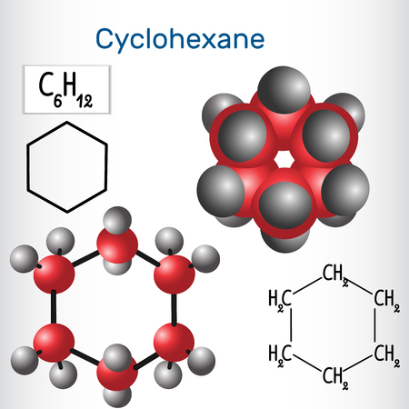 Cyclohexane molecule - structural chemical formula and model. Vector illustration