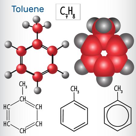 Toluene molecule - structural chemical formula and model. Vector illustration  イラスト・ベクター素材