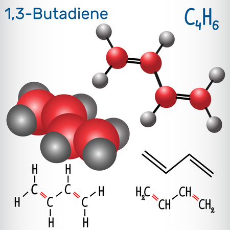 1,3-Butadiene (divinyl) molecule - structural chemical formula and model. Used in the production of synthetic rubber.Vector illustration