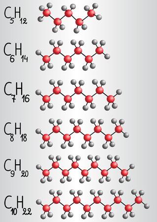 Chemical formula and molecule model of Homologous series of alkanes. Vector illustration  Illustration