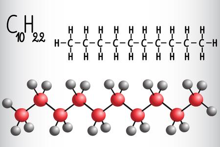 Chemical formula and molecule model of Decane C10H22. Vector illustration