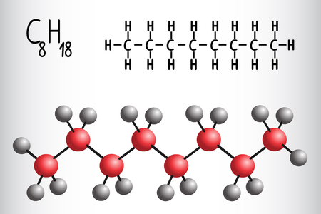 Chemical formula and molecule model of Octane C8H18. Vector illustration Stock Vector - 112525215