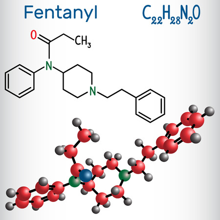 Fentanyl molecule. It is opioid analgesic. Structural chemical formula and molecule model. Vector illustration