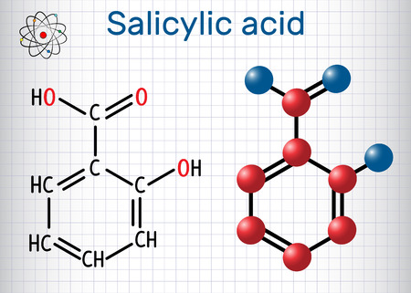 Salicylic acid molecule. It is a type of phenolic acid. Structural chemical formula and molecule model. Sheet of paper in a cage. Vector illustration