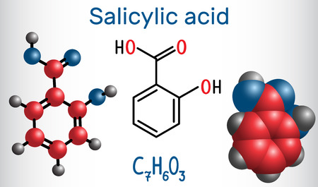 Salicylic acid molecule. It is a type of phenolic acid. Structural chemical formula and molecule model. Vector illustration