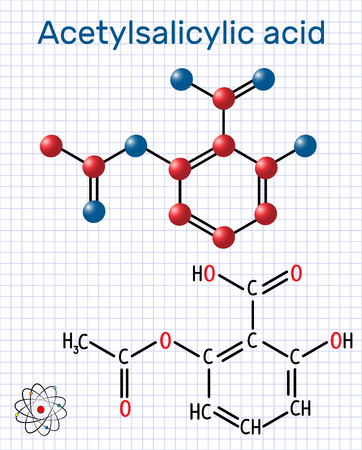 Acetylsalicylic acid (aspirin, ASA) molecule. Structural chemical formula and molecule model. Sheet of paper in a cage. Vector illustration