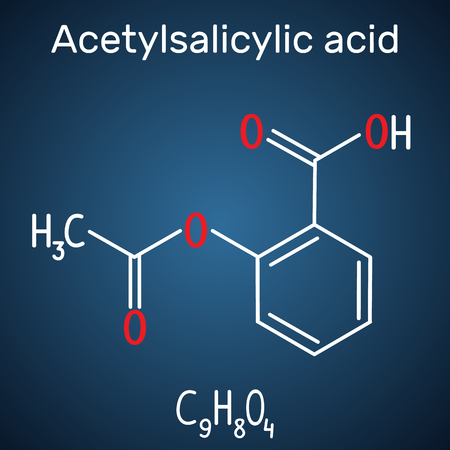 Acetylsalicylic acid (aspirin, ASA) molecule. Structural chemical formula and molecule model on the dark blue background. Vector illustration 일러스트