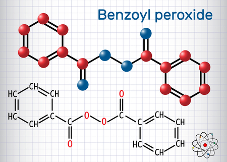 Benzoyl peroxide (BPO) molecule. Structural chemical formula and molecule model. Sheet of paper in a cage. Vector illustration