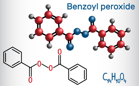 Benzoyl peroxide (BPO) molecule. Structural chemical formula and molecule model. Vector illustration Imagens - 105069083