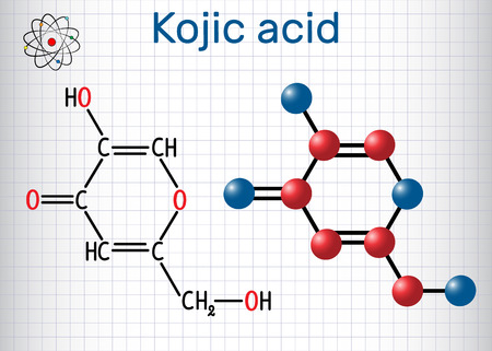 Kojic acid molecule. Used for skin depigmentation in cosmetics. Structural chemical formula and molecule model. Sheet of paper in a cage.Vector illustration