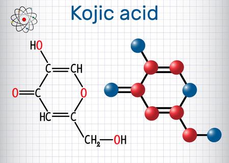 Molécule d'acide kojique. Utilisé pour la dépigmentation de la peau en cosmétique. Formule chimique structurale et modèle de molécule. Feuille de papier dans une cage. Illustration vectorielle