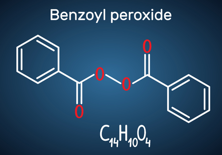 Benzoyl peroxide (BPO) molecule. Structural chemical formula and molecule model on the dark blue background. Vector illustration