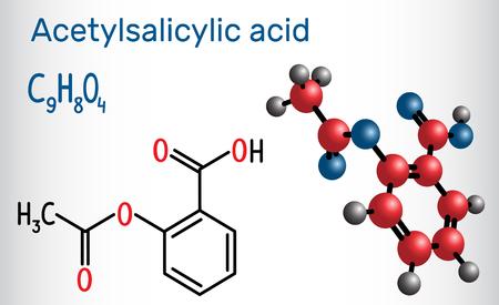 Acetylsalicylic acid (aspirin, ASA) molecule. Structural chemical formula and molecule model. Vector illustration 일러스트