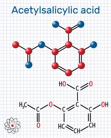 Cząsteczka kwasu acetylosalicylowego (aspiryna, ASA). Strukturalny wzór chemiczny i model cząsteczki. Arkusz papieru w klatce. Ilustracji wektorowych