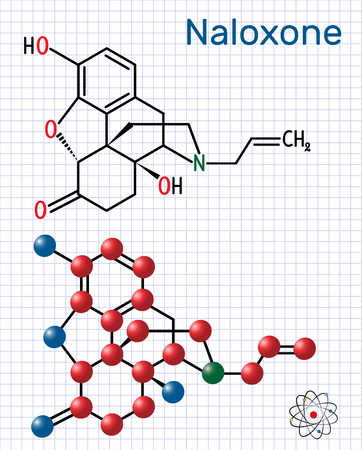 Naloxone molecule. It is used to block the effects of opioids, especially in overdose. Structural chemical formula and molecule model. Sheet of paper in a cage. Vector illustration Illustration