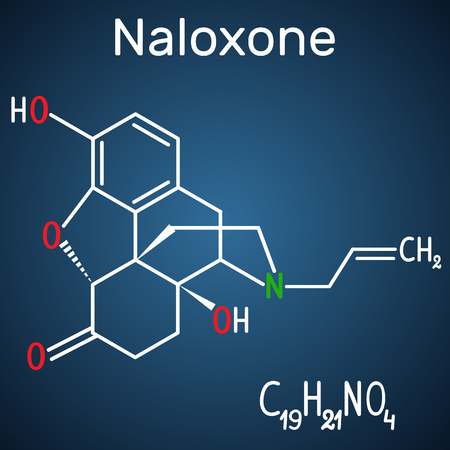 Naloxone molecule. It is used to block the effects of opioids, especially in overdose. Structural chemical formula and molecule model on the dark blue background. Vector illustration Иллюстрация