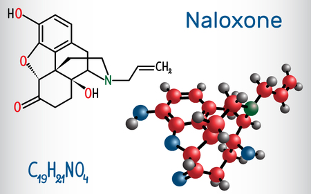 Naloxone molecule. It is used to block the effects of opioids, especially in overdose. Structural chemical formula and molecule model. Vector illustration Illusztráció