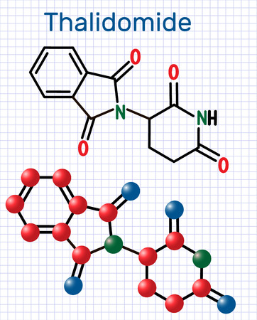 Thalidomide molecule. Is used as a treatment of multiple myeloma and of leprosy. Structural chemical formula and molecule model. Sheet of paper in a cage.Vector illustration