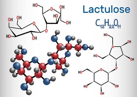 Lactulose molecule. It is used in the treatment of constipation. Structural chemical formula and molecule model. Vector illustration